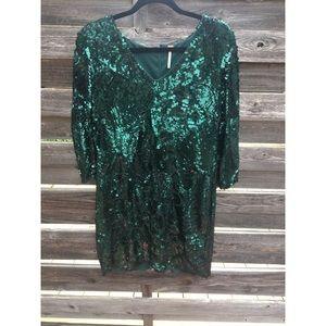 Free People Emerald Green Sequin Dress